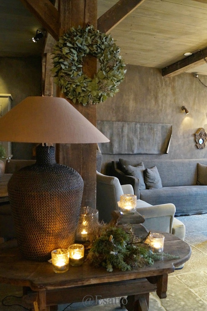 chalet chic living room with candles