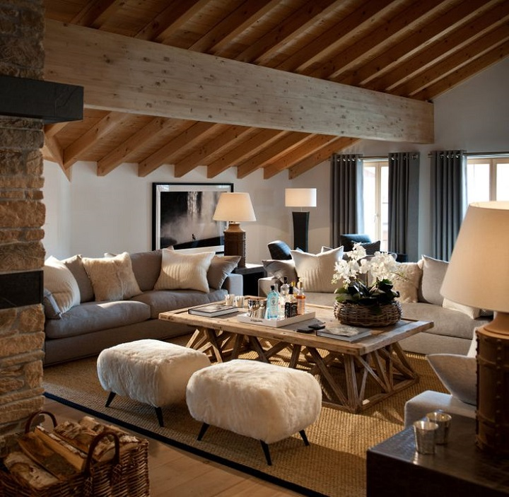 chalet chic living room texture idea