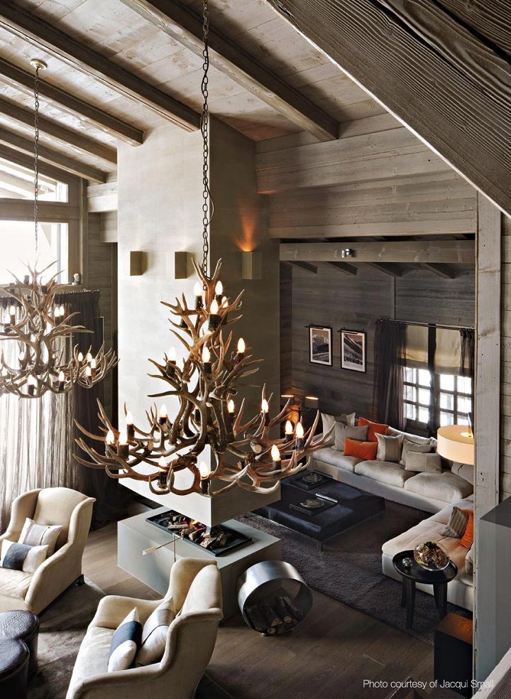 chalet chic living room with special chandelier