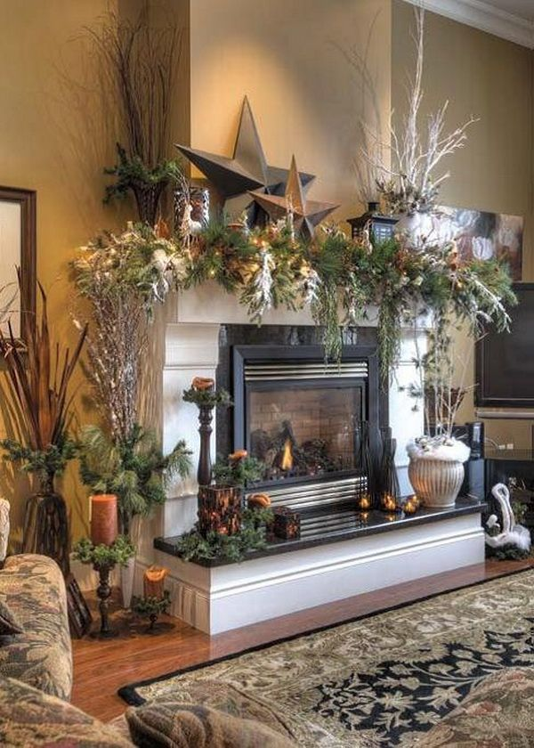 contemporary christmas mantel - How To Decorate A Fireplace For Christmas