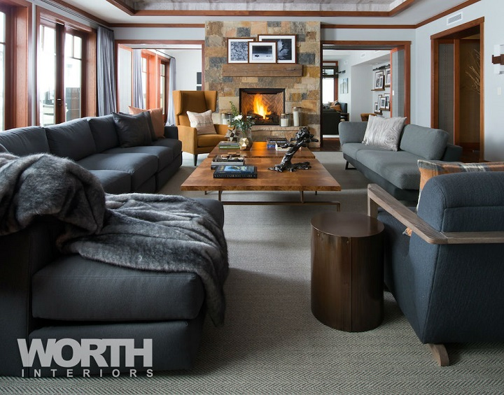 contemporary chic chalet living room with Faux Fur decor