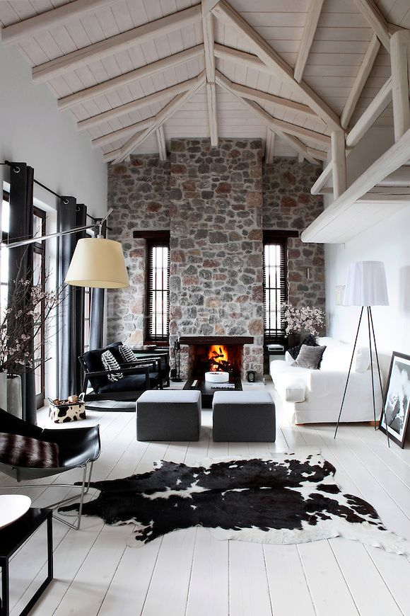 contemporary chic chalet living room