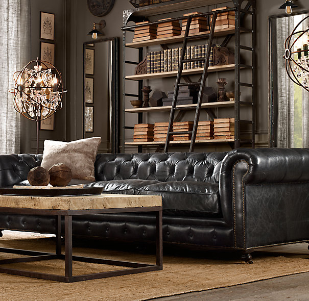 dark masculine living room decoratin ideas with black leather sofa