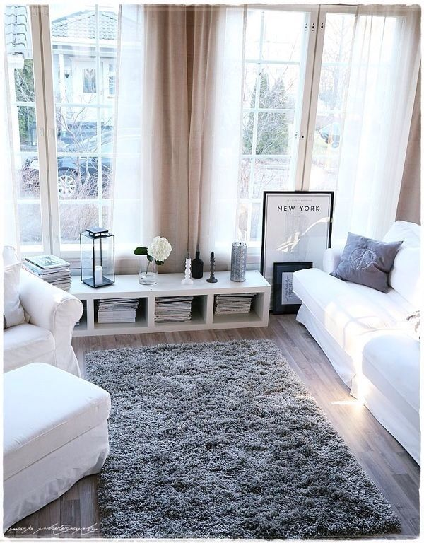 white and gray fresh living room design