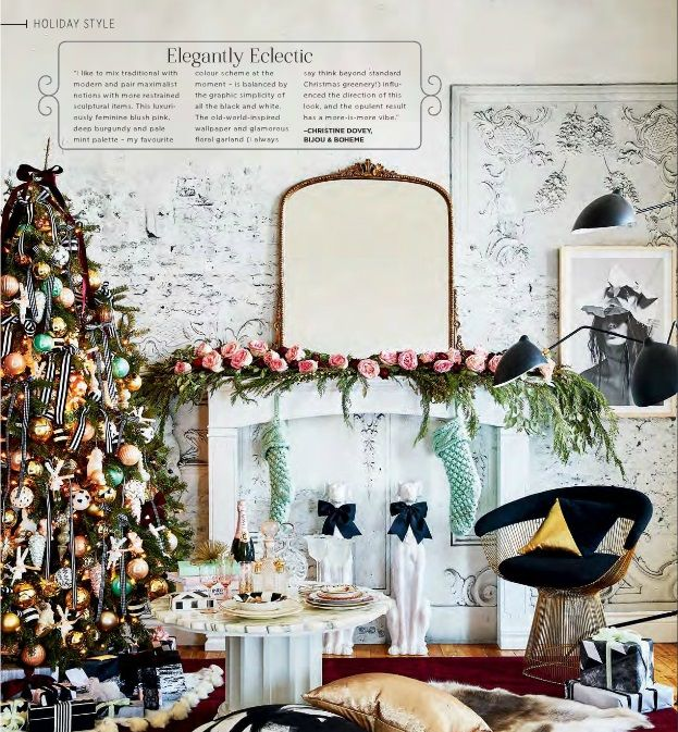 eclectic style christmas decorating idea - Boho Christmas Decor