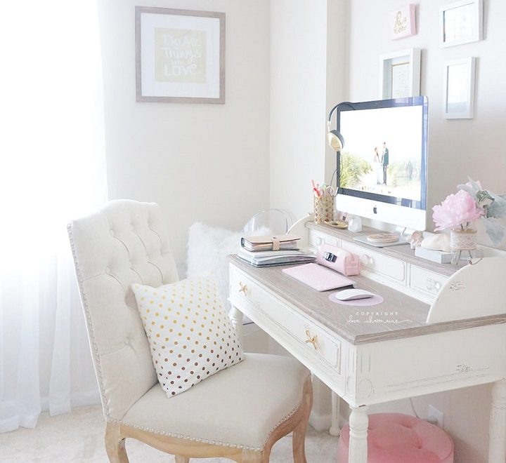 hite and pink feminine home office decorating idea