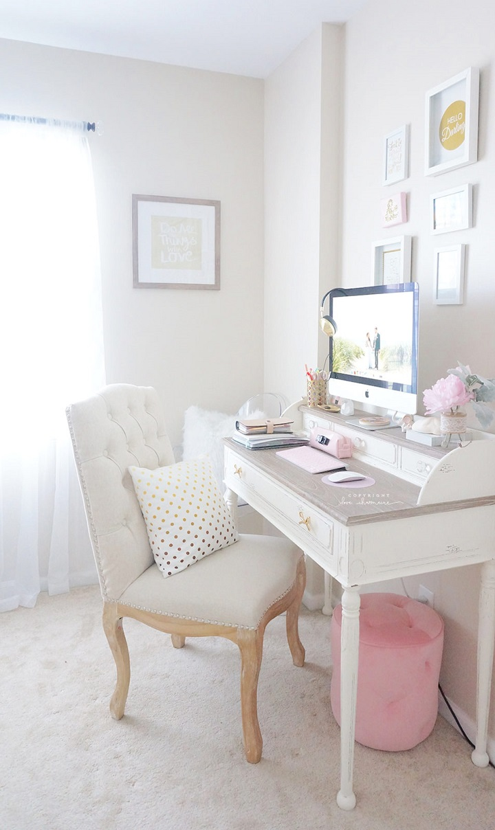 your home office. Hite And Pink Feminine Home Office Decorating Idea Your