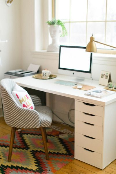 home office colorful rug