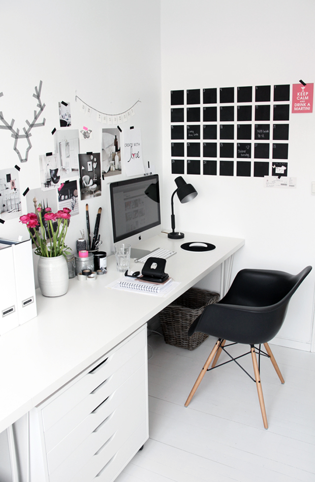 feminine black and white home office mood board idea