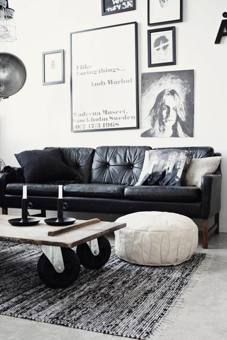 Charming Industrial Style Living Room With Black Leather Sofa
