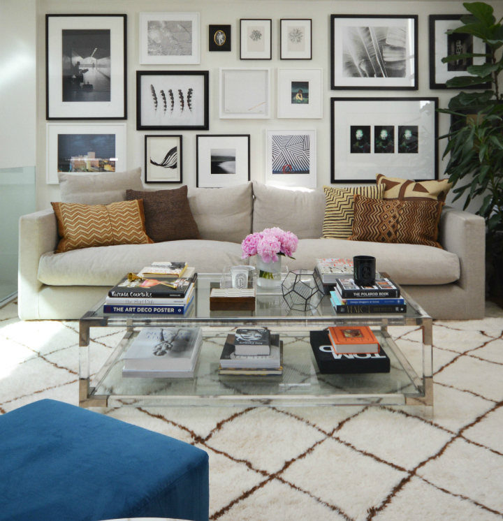 inviting living room with great wall art collection