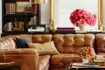 inviting living room with sectional brown leather sofa