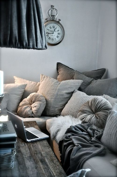 cozy gray living room corner