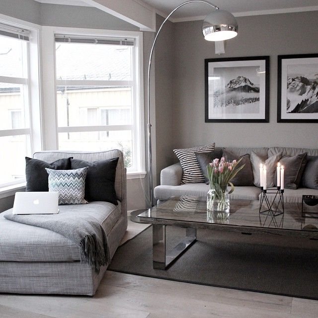 living room with gray walls and gray sofas