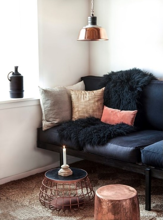 Copper And Black Living Room Decoratin Ideas With Black Leather Sofa