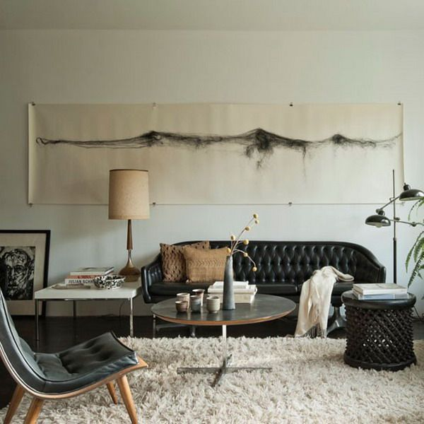Bon Neutral Style Living Room Decoratin Ideas With Black Leather Sofa