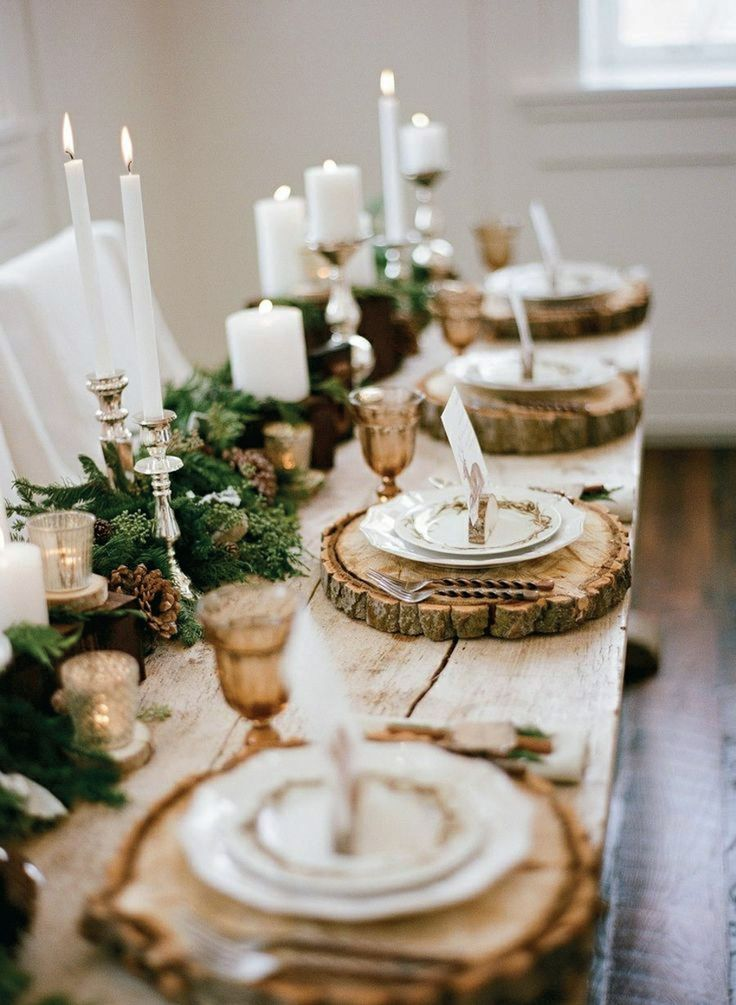 Christmas table with rustic decorating style