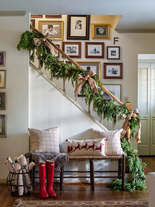 Christmas staircase with rustic home style