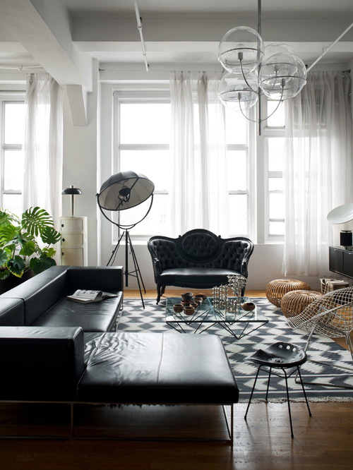 victorian style living room decoratin ideas with black leather sofa
