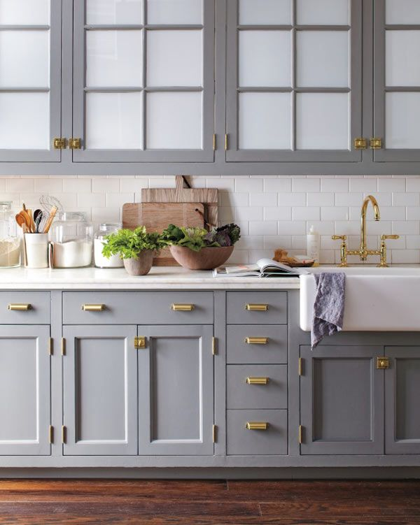 gray kitchen with gold handles