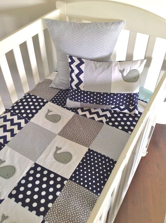 Moby Whale Baby boy Quilt and two cushion covers, (grey) from alphabet