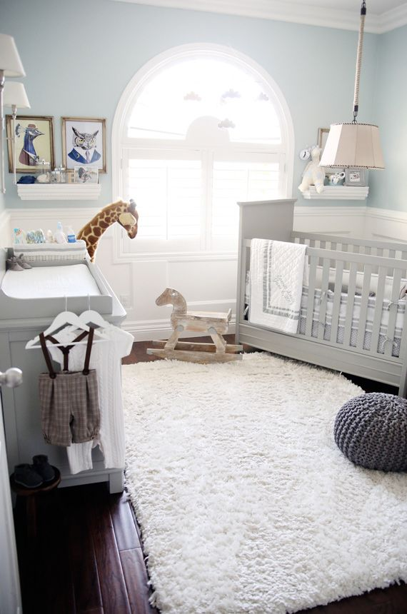 Soft Blue And Gray Paint Idea For Boy S Nursery Room