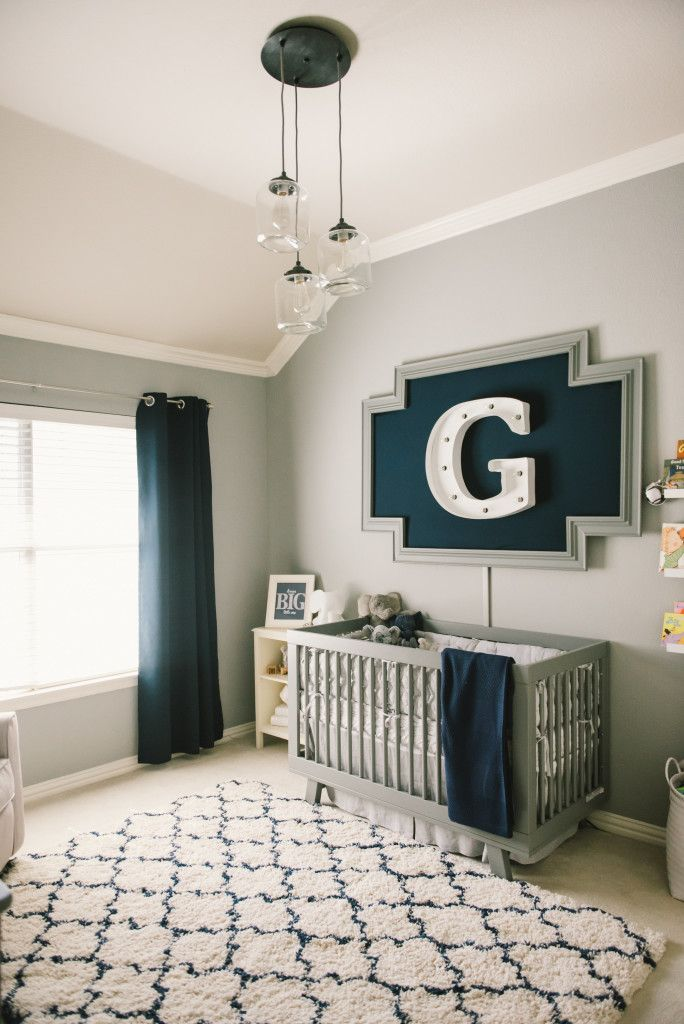 Modern Grey Navy And White Baby Boy Nursery Wall Decor Idea
