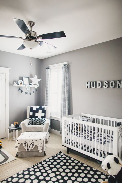 Soft Gray Paint Idea With Black And White Decor For Boy S Nursery Room