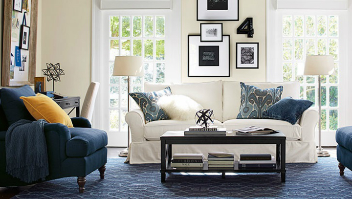 white and navy blue lightful living room