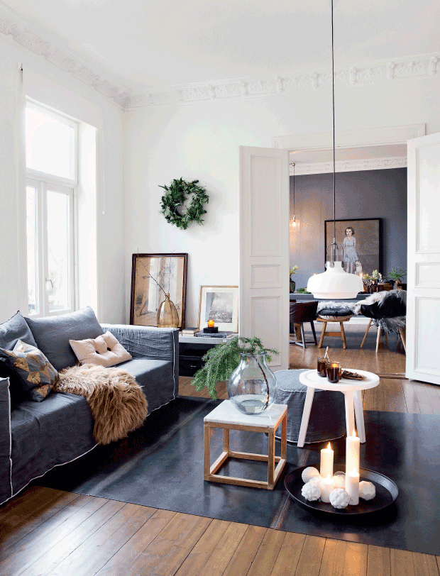 dramatic Scandinavian casual style interior