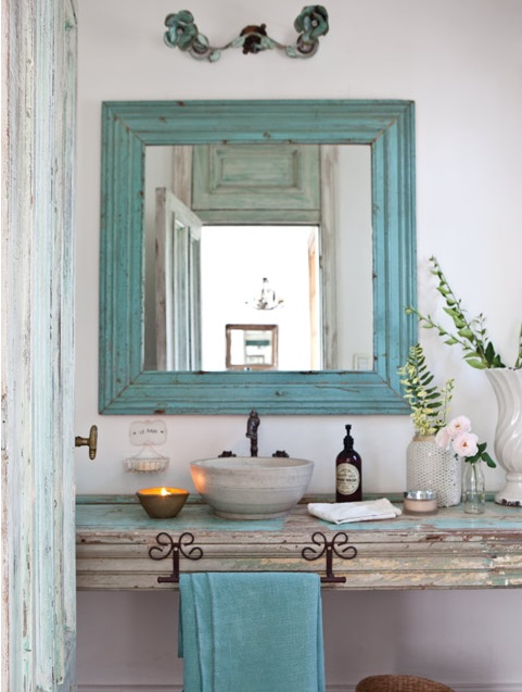 Distressed Wood Bathroom Countertop 3