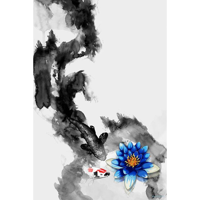 'WaterLily' Koi Fish Painting Print on Wrapped Canvas