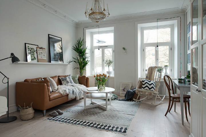 Lightful and Fresh Scandinavian modern Apartment interior