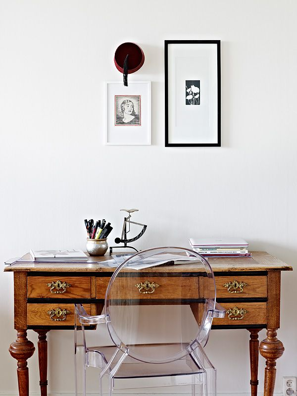 antique desk with modern ghostohhost chair