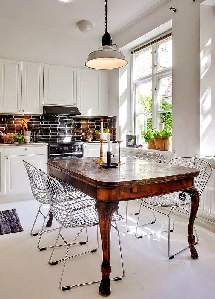 contemporary kitchen with antique table and modern chairs - How To Mix Old And New In Your Home - Decoholic