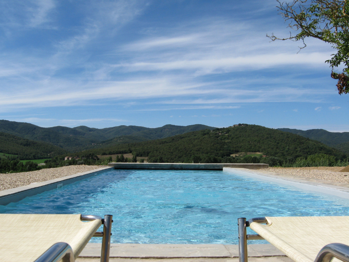 outdoor swimming pool sets upon a lavish landscape