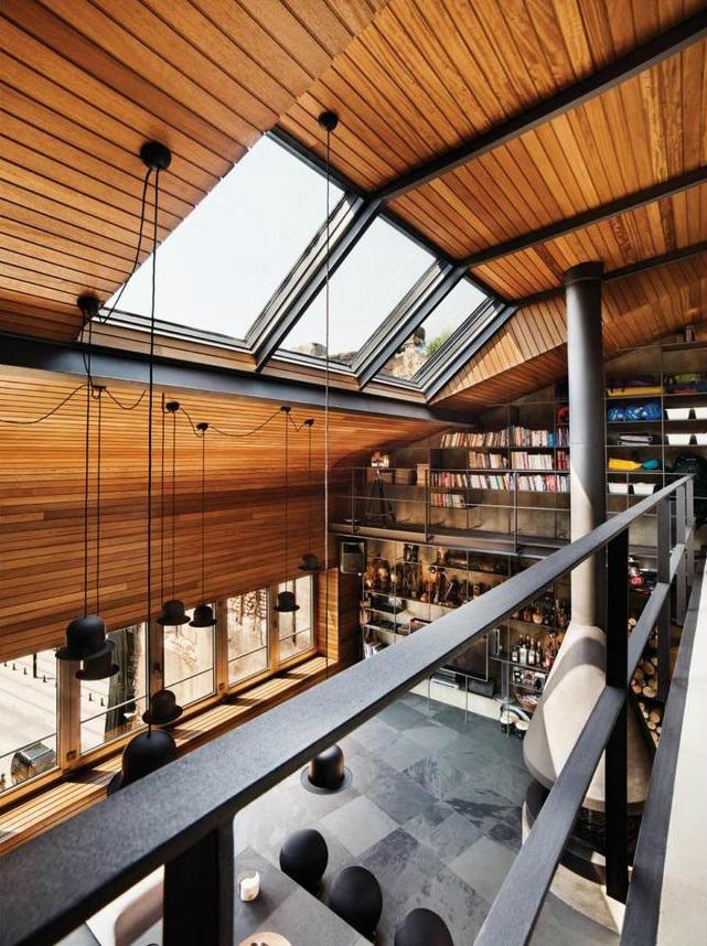 metal contemporary bachelor pad loft interior 100