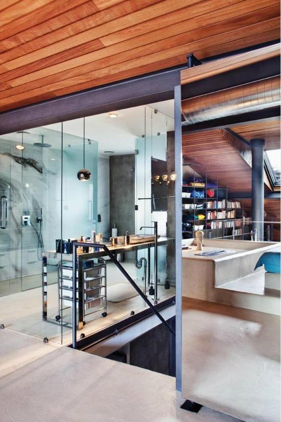 metal contemporary bachelor pad loft interior 11