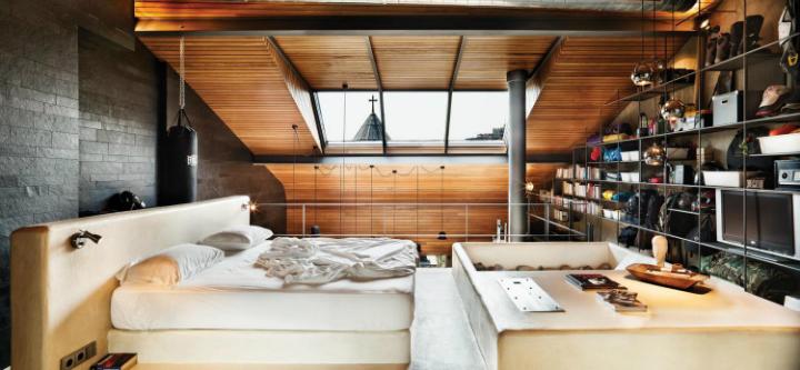 metal contemporary bachelor pad loft interior 12