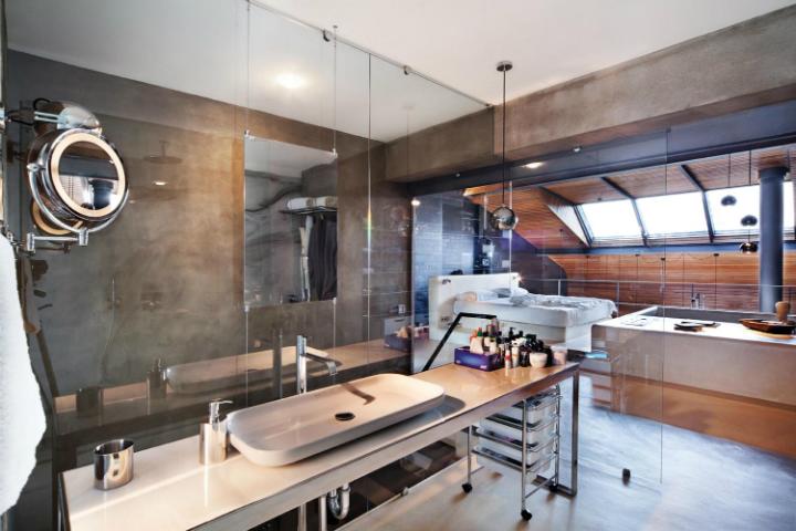 metal contemporary bachelor pad loft interior 14