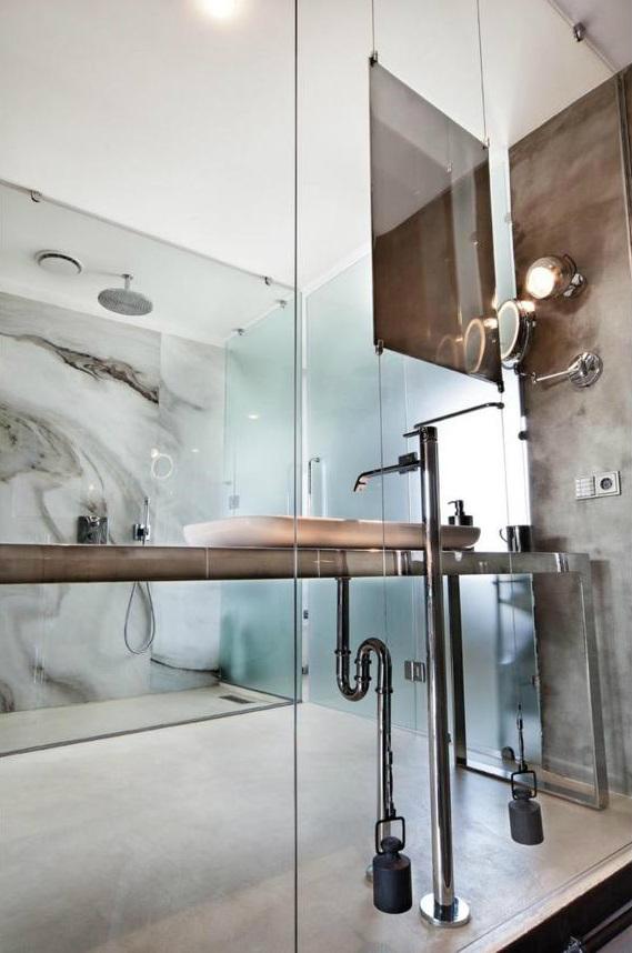 metal contemporary bachelor pad loft interior 15