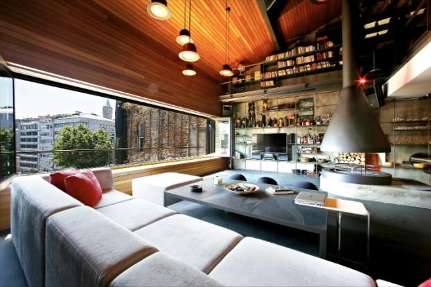 metal contemporary bachelor pad loft interior