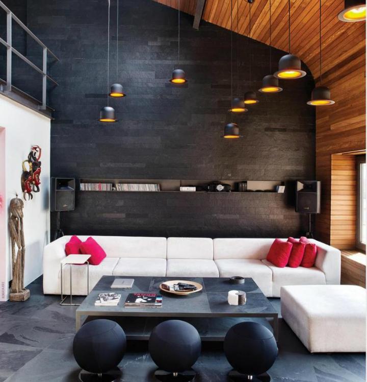 metal contemporary bachelor pad loft interior 2