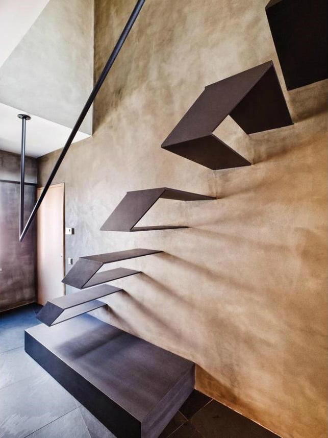 metal contemporary bachelor pad loft interior 7