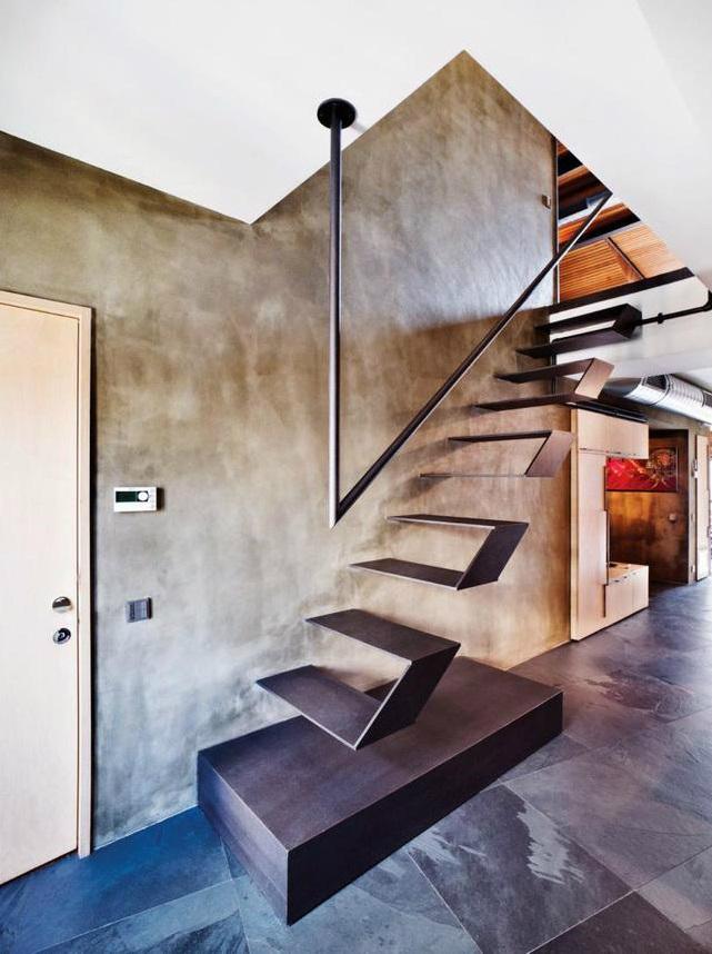metal contemporary bachelor pad loft interior 8