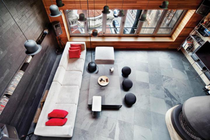 metal contemporary bachelor pad loft interior 9