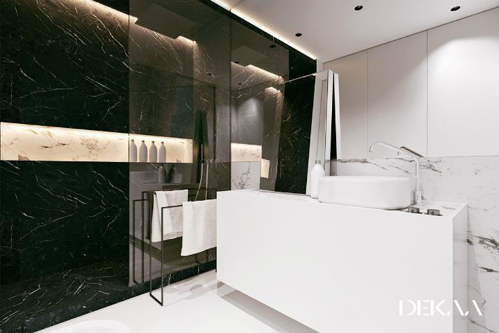 contemporary minimalist black and white bathroom