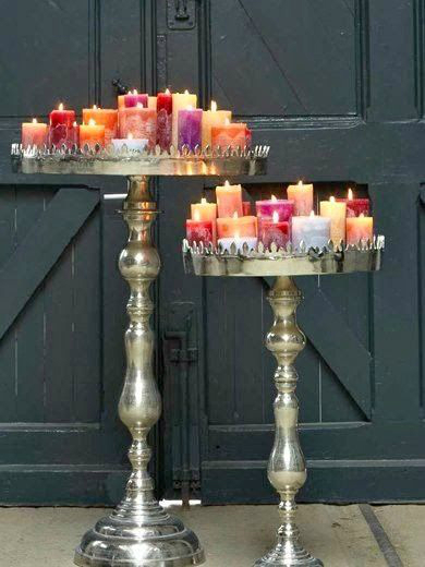 bohemian colorful exotic Cluster Candles Together