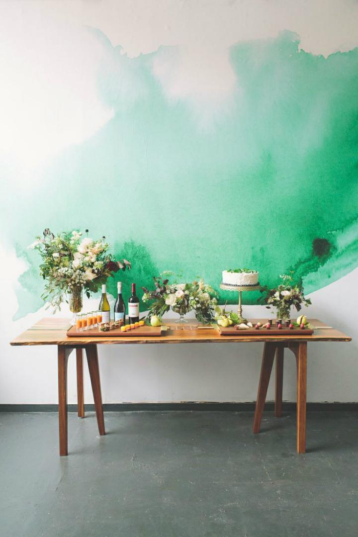 green Water Down Wall wallpaper