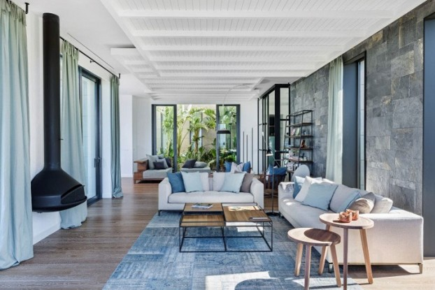 contemporary house interior with Shades Of Blue